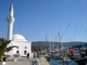 Typical white mosque in Bodrum town, Turkey