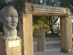 Entrance of the Bodrum Museum of Underwater Archeology with a bust of the museums' founder