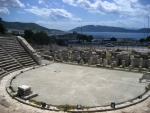 Panorama view from the Amphitheatre in Bodrum on Bodrum Castle and Harbour